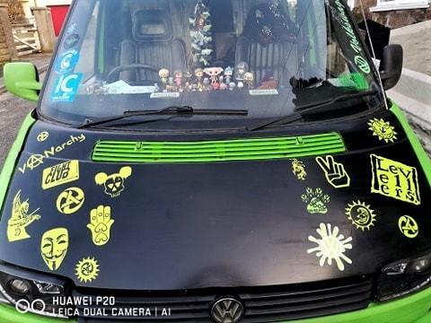 Levellers peace vinyl stickers on car bonnet
