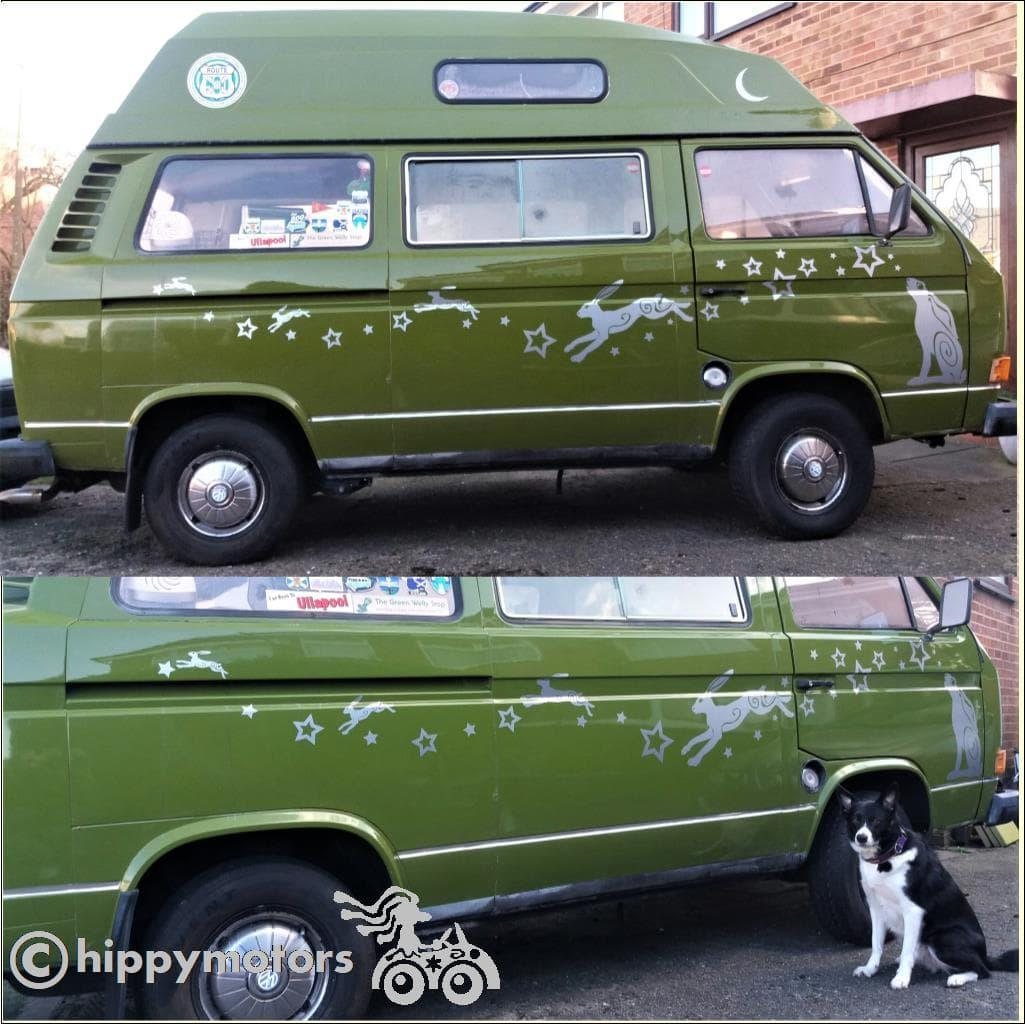 Camper van with hare star and moon graphics