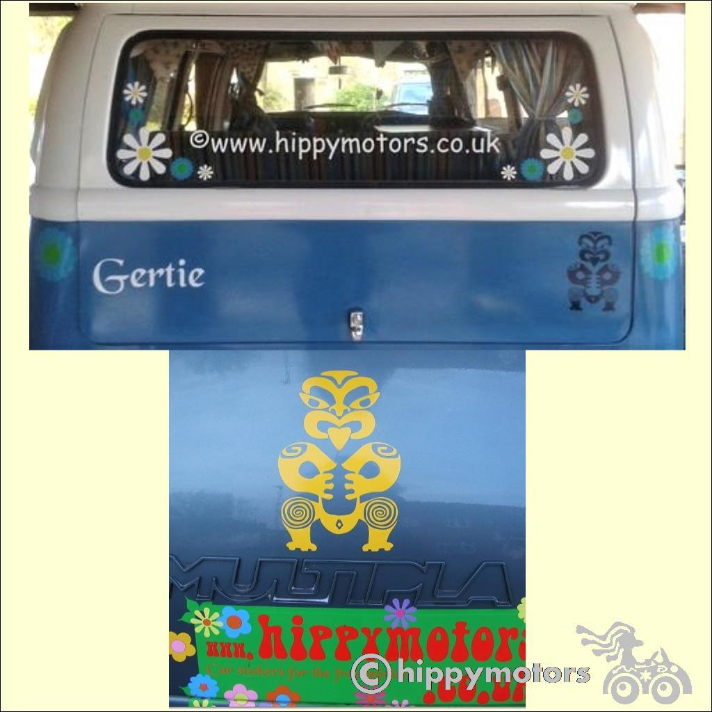 Maori tiki vinyl decal on car and campervan