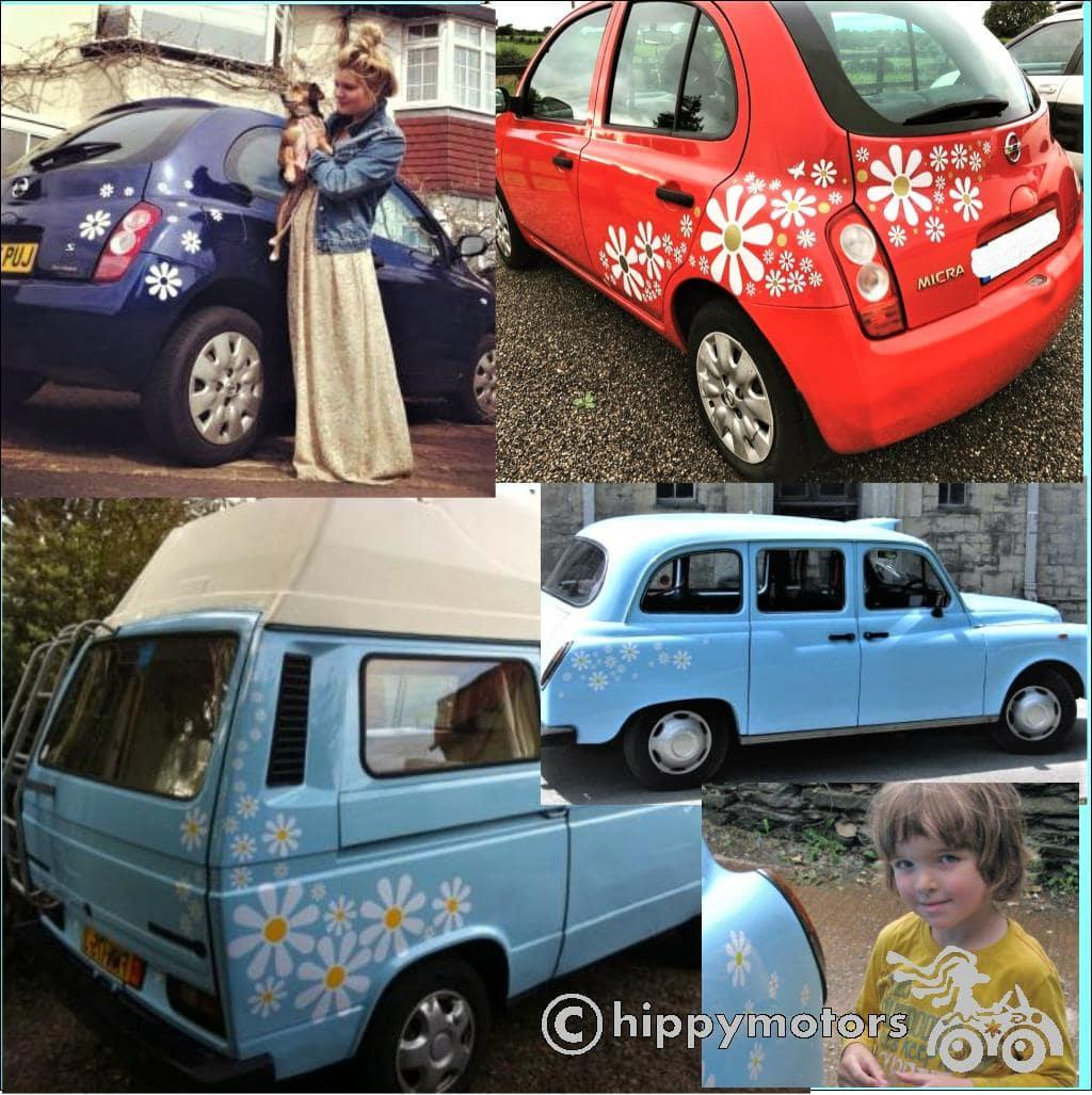 long lasting car and camper van daisy vinyl stickers