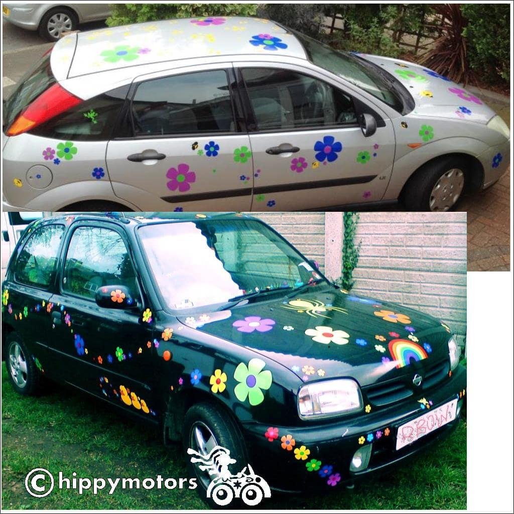 colourful wizz flower car stickers on cars and caravans