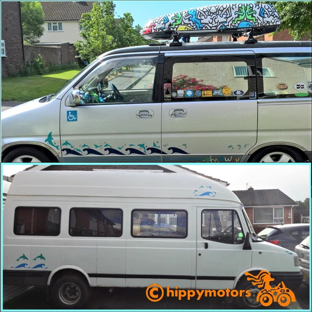 dolphin car stickers on mini bus and caravan