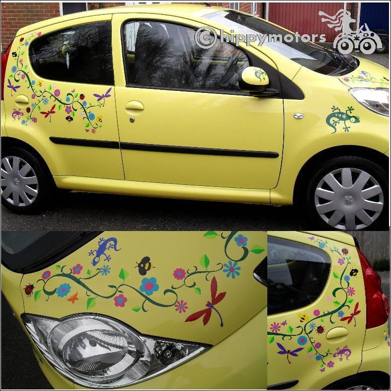 Car covered in flowers vines and dragonfly decals