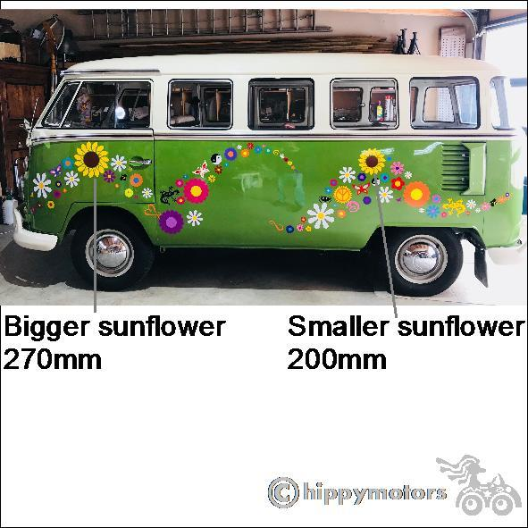flower decals on VW Kombi van