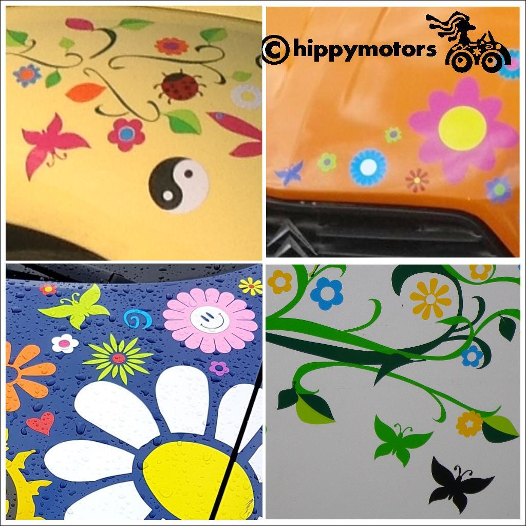 Butterfly and flower decals on cars