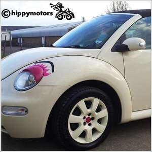 Eye brow vinyl decal on a  VW Beetle car headlight