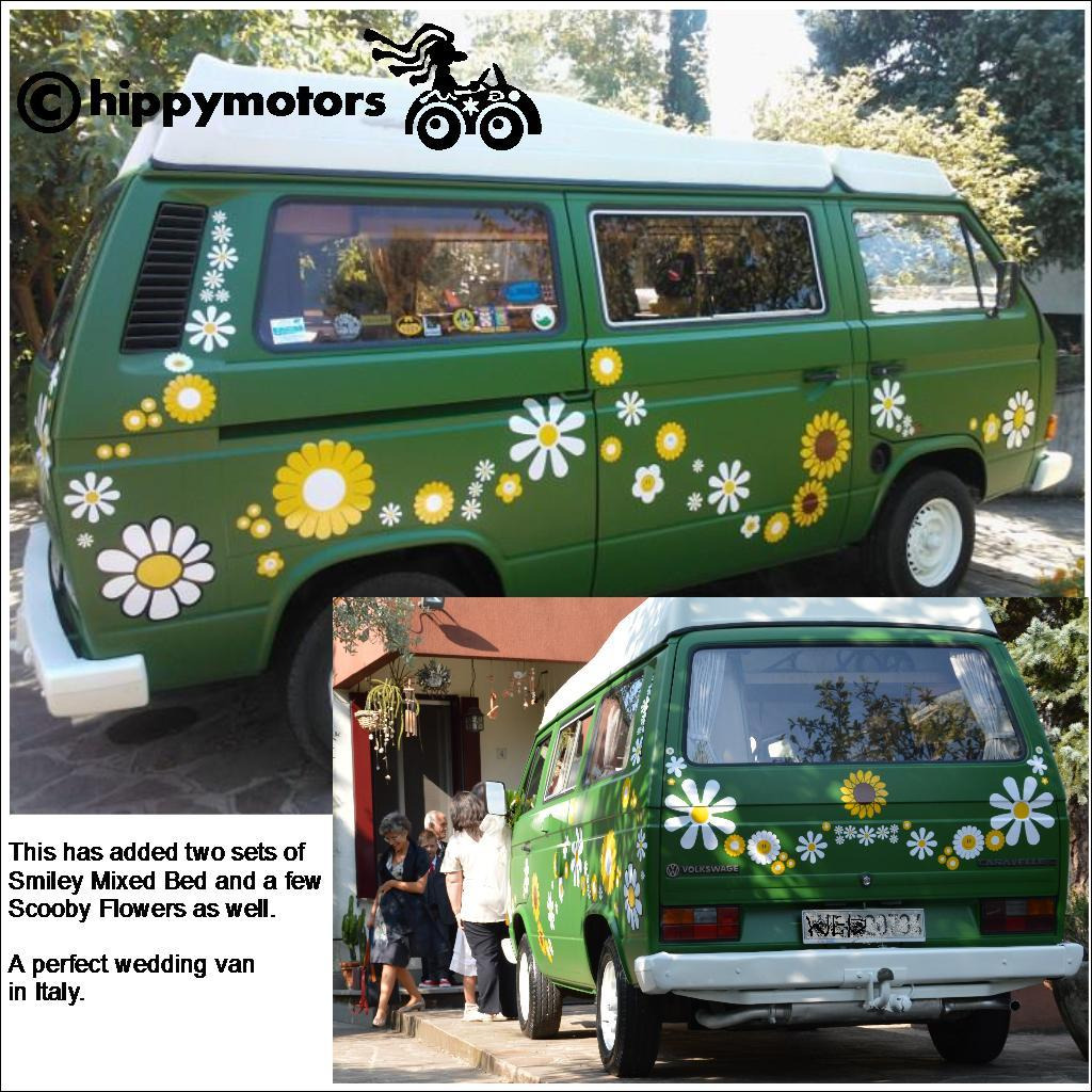 Large Flower vinyl Stickers on VW camper van