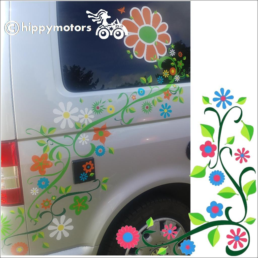 curly vine and flower stickers on a camper van