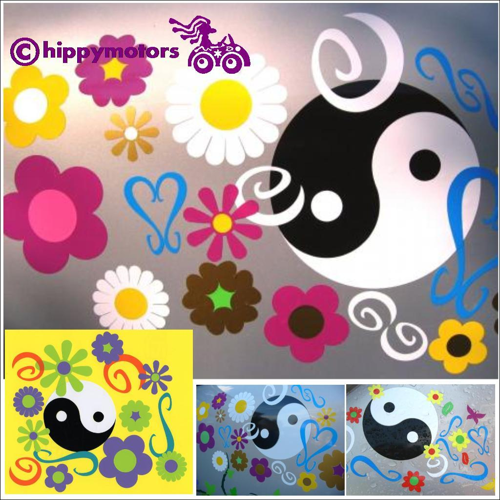 flower yin yang and curl car decal set variations