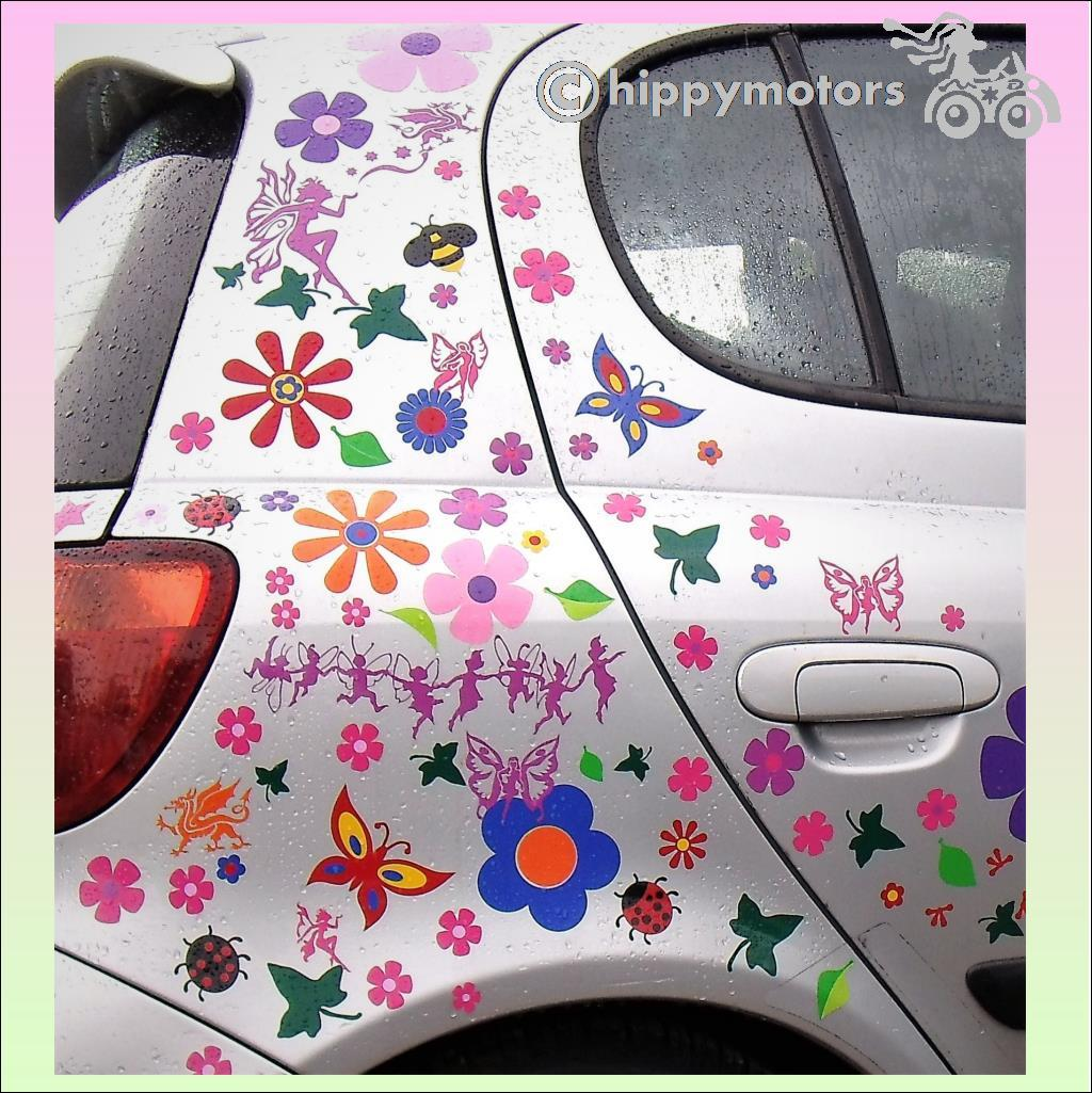 fairy and flower car graphics hippy motors
