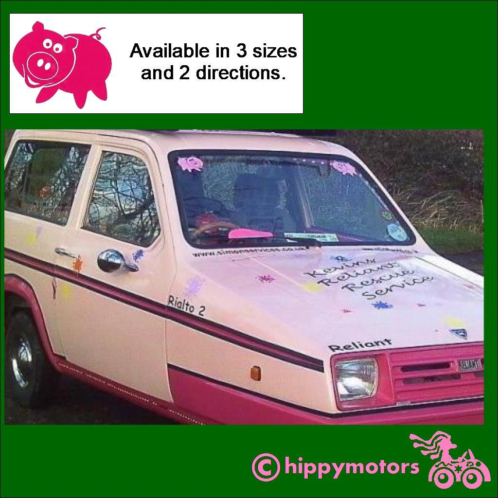 Car with pig decals on