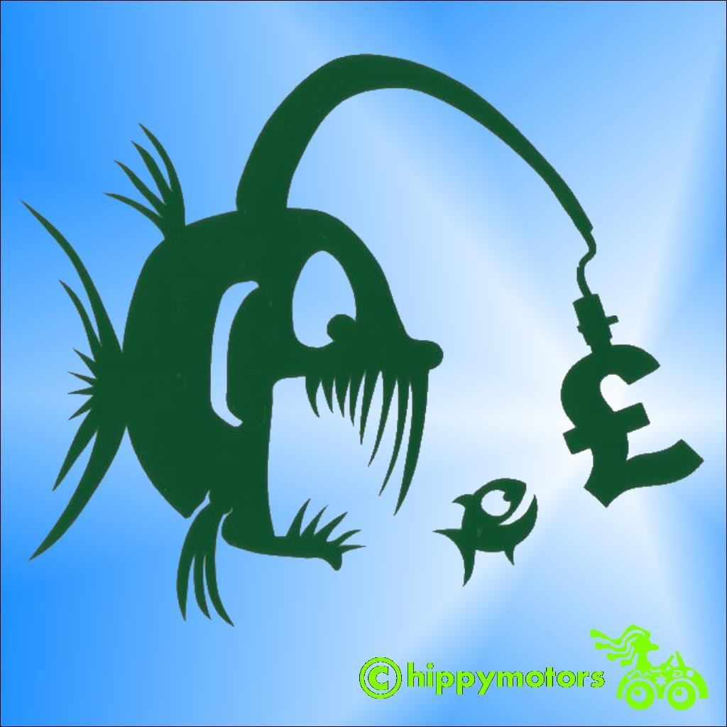 Angler fish with money as the light decal