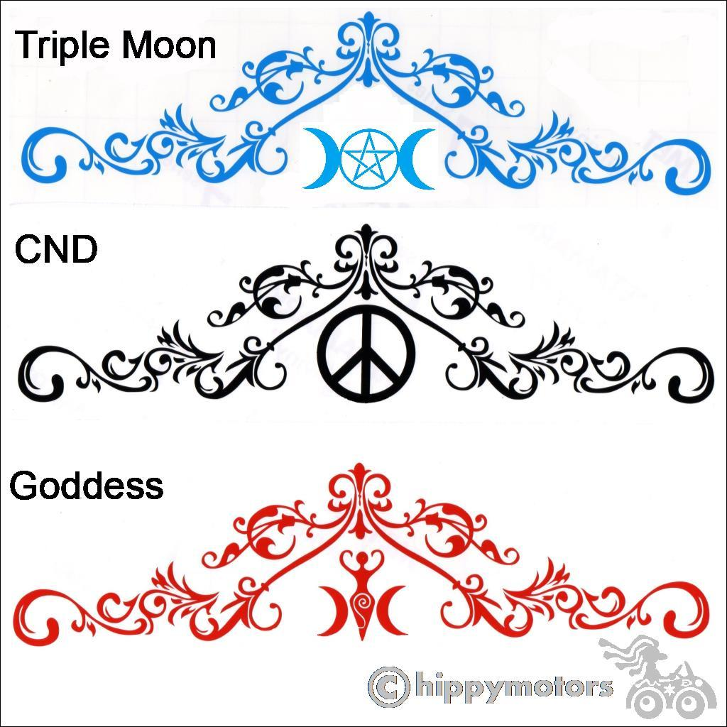 goddess cnd pentagram curl scroll big sticker for windows and vehicles