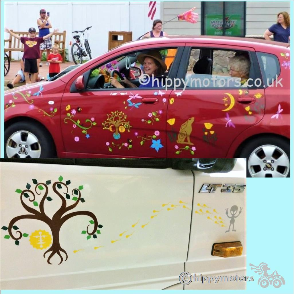 tree of life earth car sticker camper van decal hippy motors