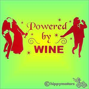 powered by wine vinyl car sticker for vehicles walls windows