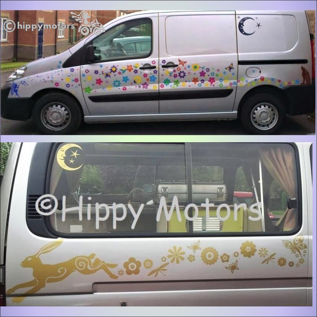 moon sticker window transfer car decal hippy motors