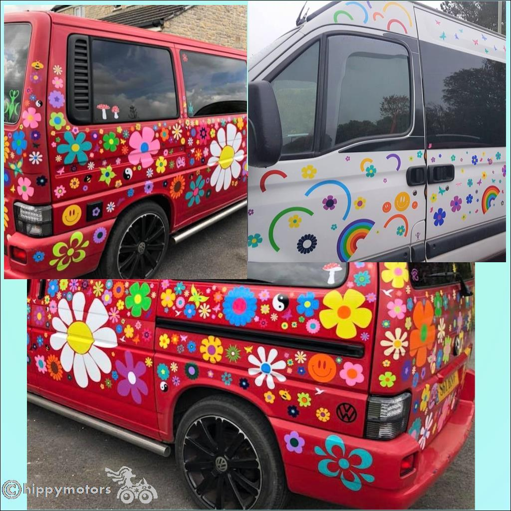 smile stickers and flower decals on camper vans and caravans