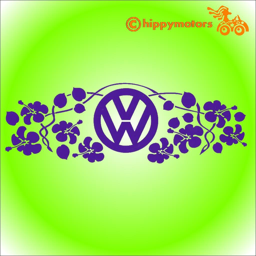 vw logo vinyl decal with hibiscus flowers for campervans