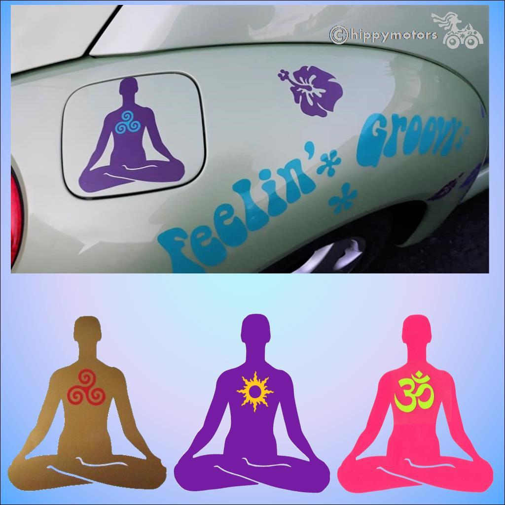 yoga symbol sticker on petrol cap of car with hibiscus flower decals