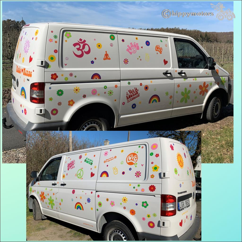 yoga peace love camper van stickers hippy decals
