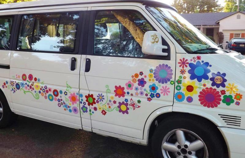Love bus hippy flower stickers on camper van