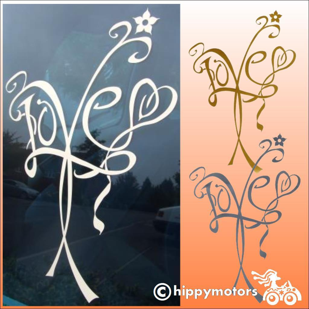 vinyl Decal of the word love with a vine around it for car window