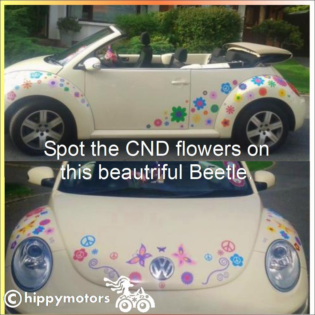 Flower decals with CND symbols on a VW beetle
