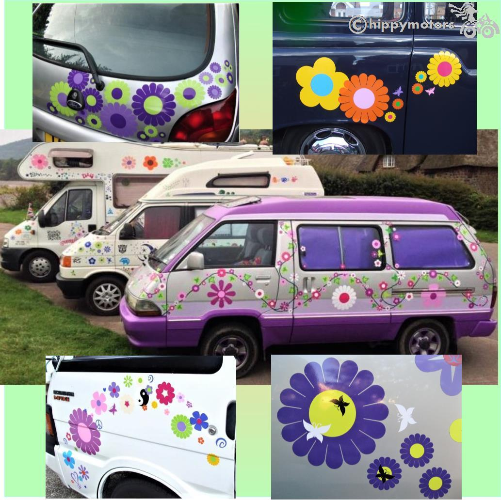 big daisy gerbera vinyl sticker transfers on camper van motor home and cars