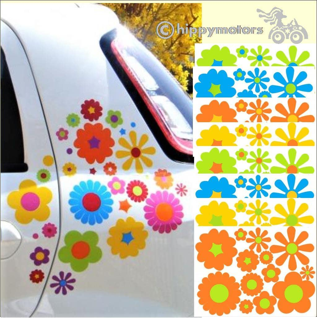 multipack large kit of flower vinyl decals for cars camper vans caravans