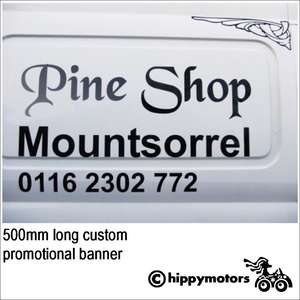 custom wording banner on van