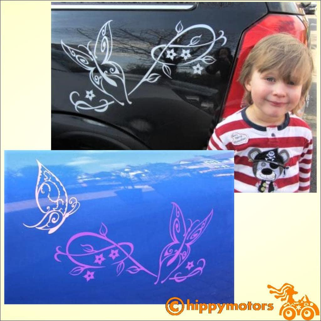 Butterfly and vine decal on car