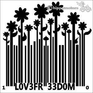 Bar code growing to flowers decal