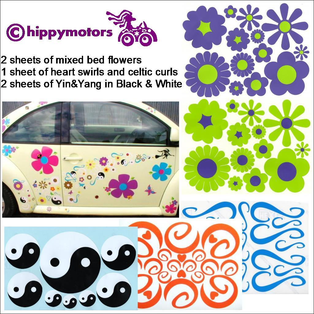 flower yin yang and curl car decal set on car