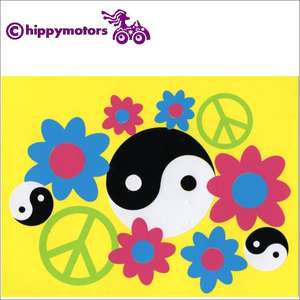 yin yang symbols with flowers decals cars