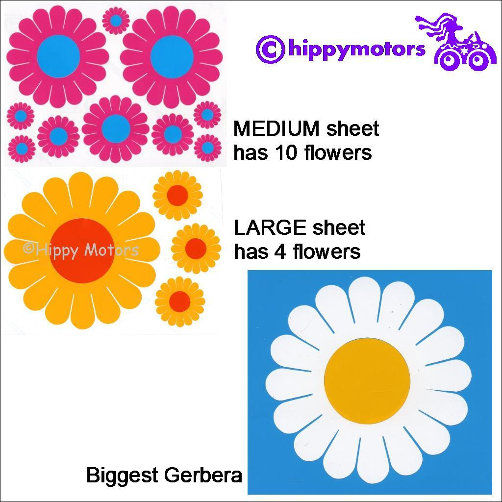 gerbera daisy flower decal sheets from Hippy Motors