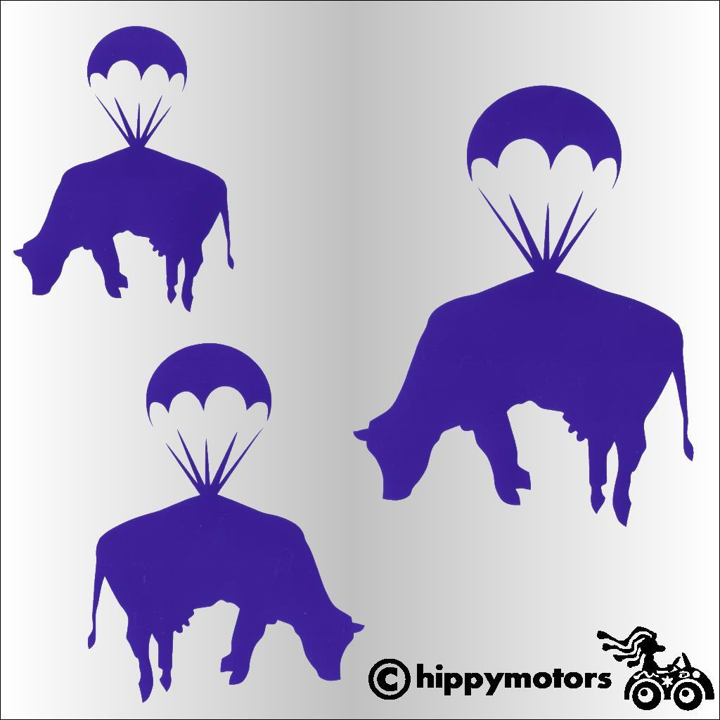 parachuting cow decals