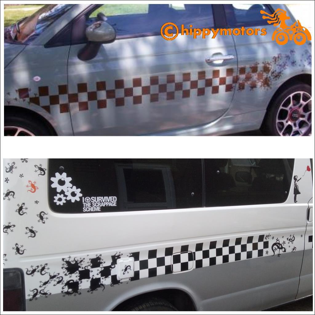 big strip of racing checks and geckos sticker graphics for camper vans and caravans