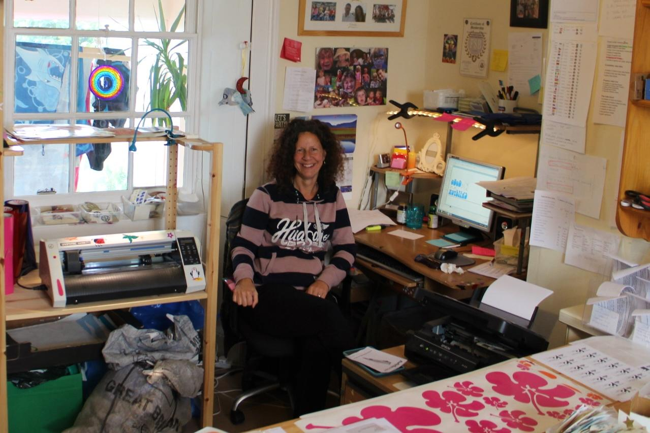 Hippy Motors office with Angela Whittaker