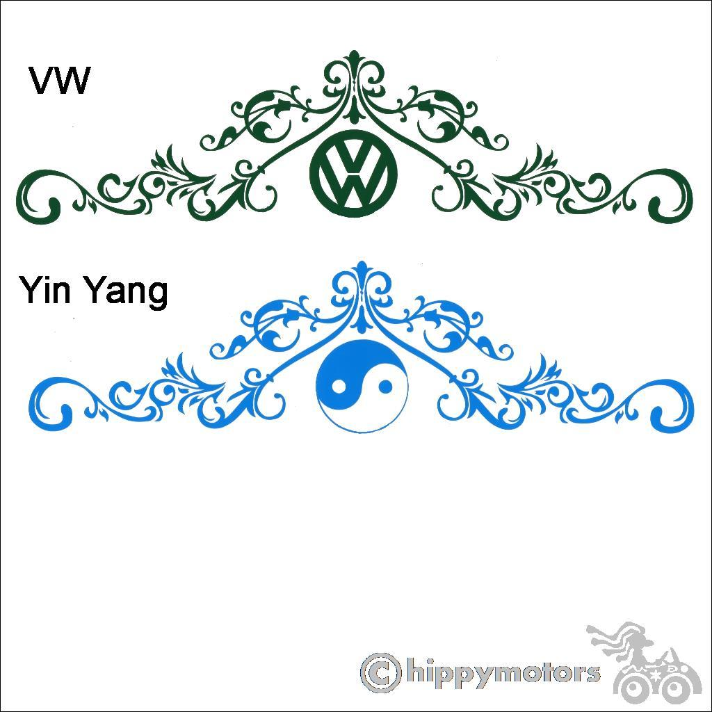 large VW yin yang curly scroll vinyl sticker decal for camper vans cars and caravans
