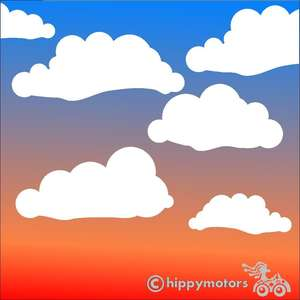 cloud vinyl stickers decals for cars, windows, camper vans and caravans