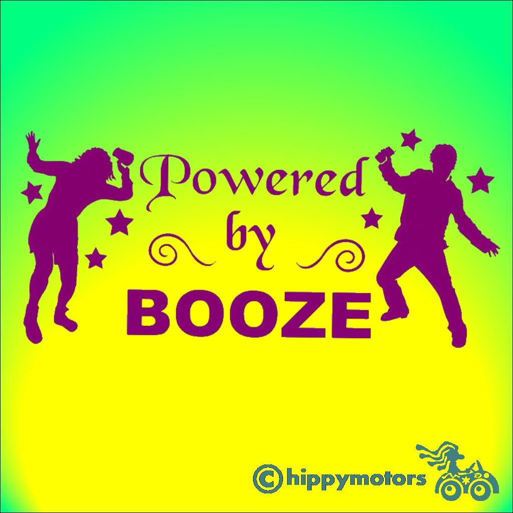 car decal or sticker saying powered by booze with dancing drunks