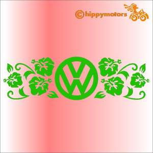 vw logo decal with hibiscus flowers for camper vans cars