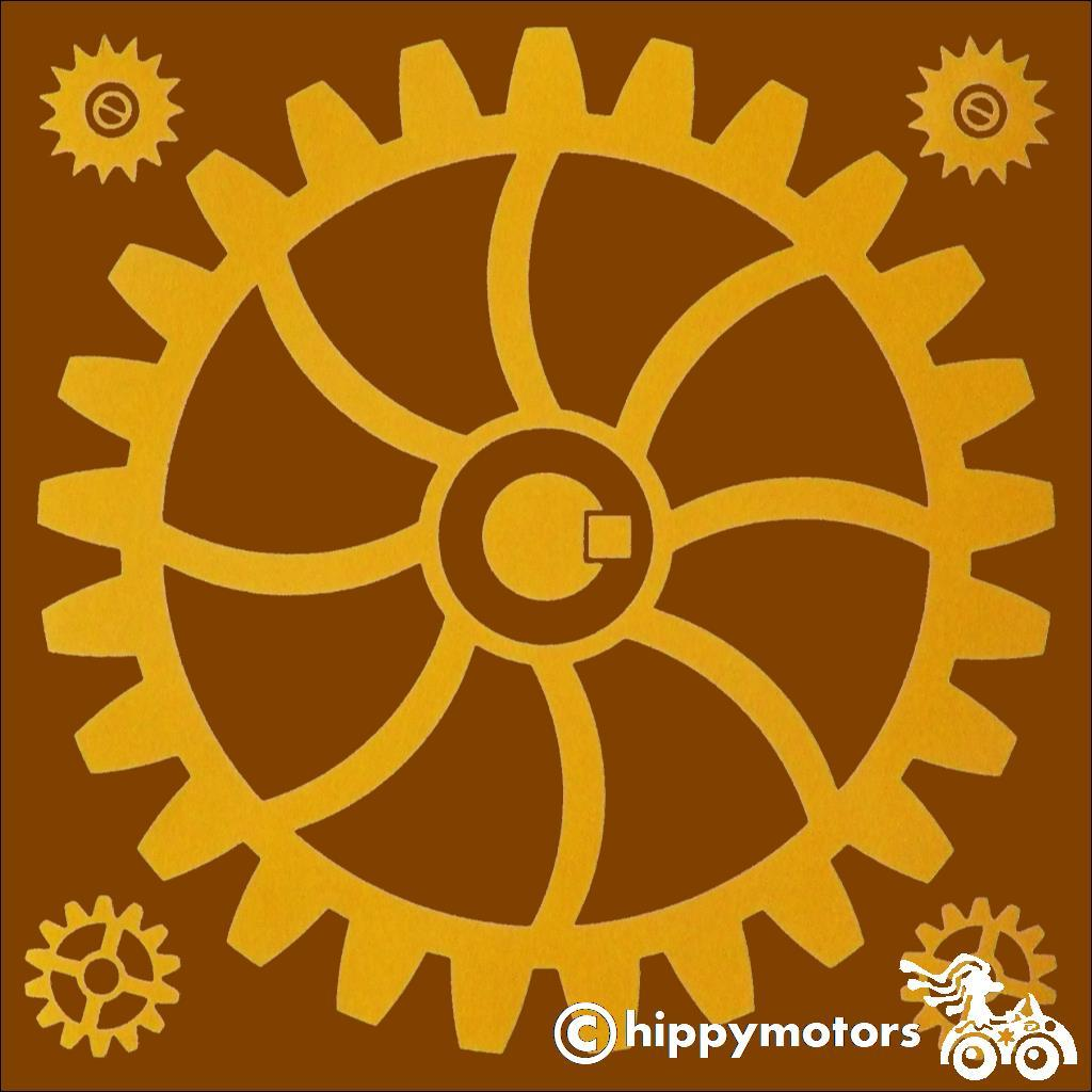 Vinyl decal of a gear or cog for walls cars caravans minibuses