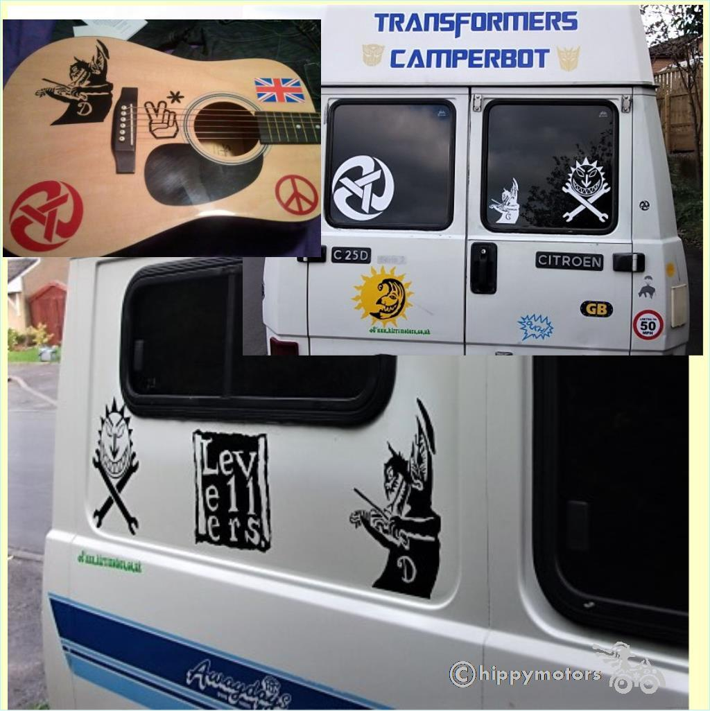 levellers devil with fiddle sticker on windows camper van and guitar