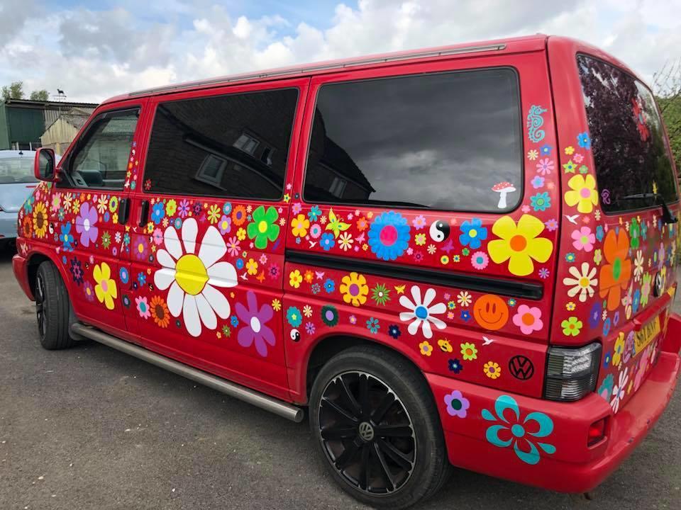 VW camper van hippy decals flower stickers