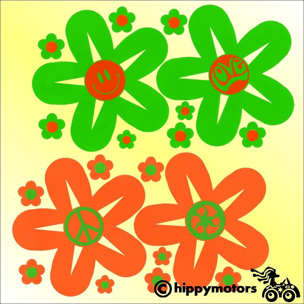 flowers with symbols in the centre decals