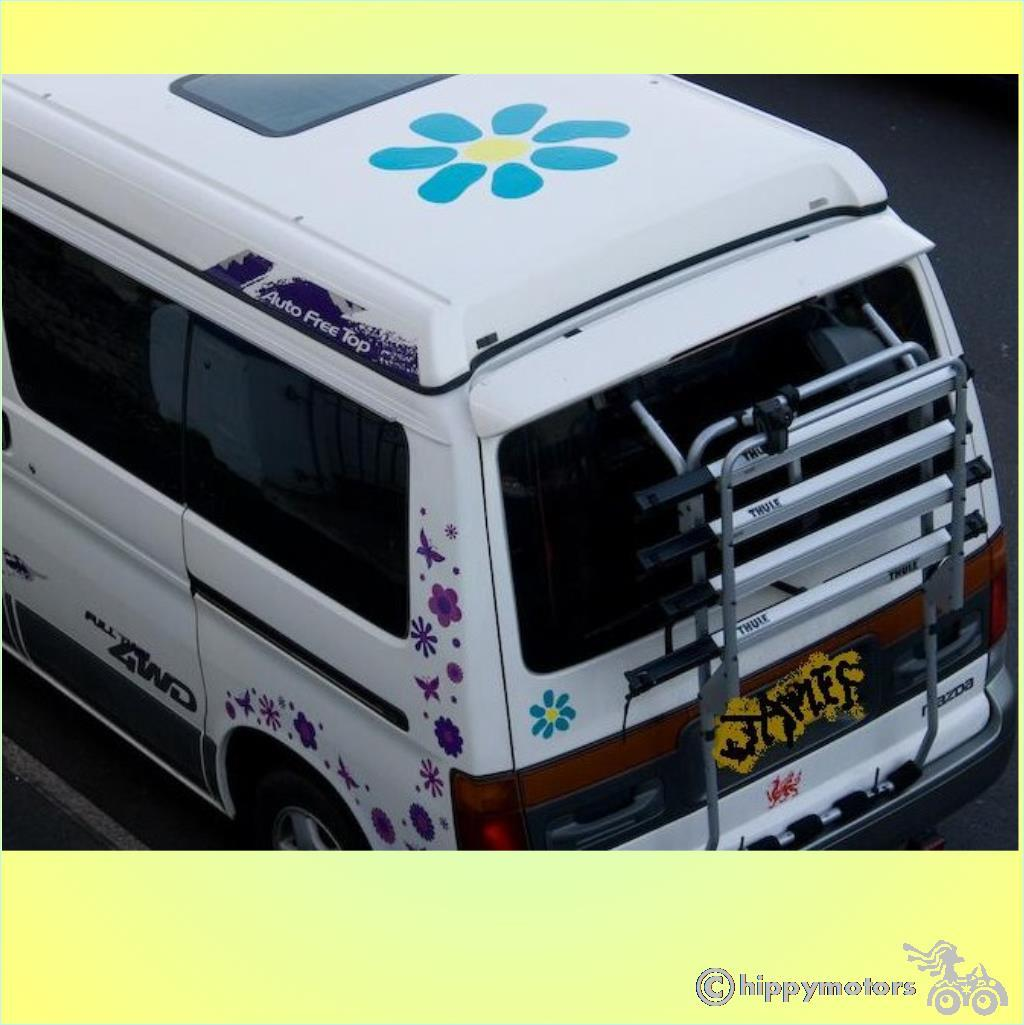 giant daisy decal sticker on camper van roof