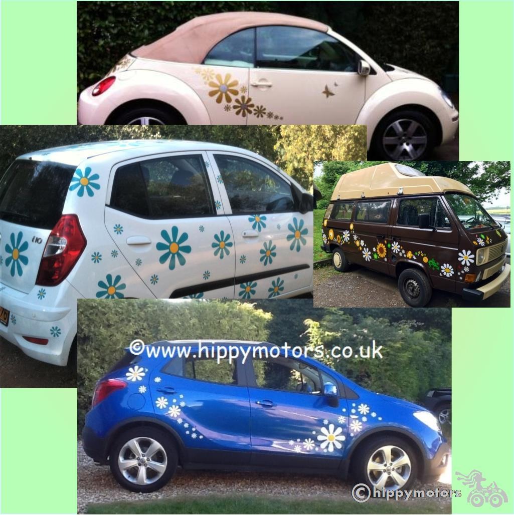 daisies flower vinyl decals on VW beetle camper van and cars