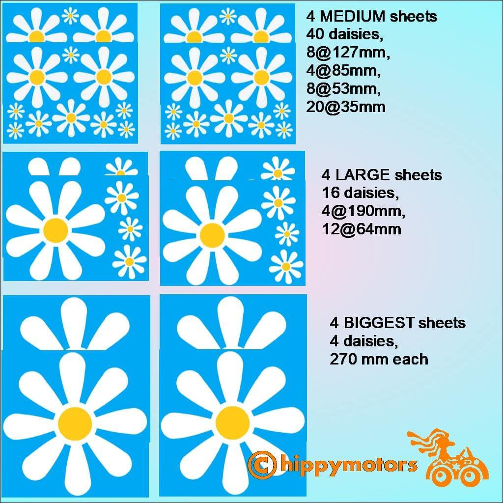large Set of Daisy vinyl stickers for vehicles