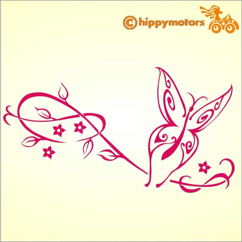 butterfly car sticker with vine flower decals